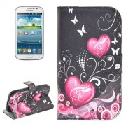 Heart Pattern Flip Leather Case with Holder & Card Slots for Samsung Galaxy Grand Duos / i9082 Neo Plus / i9060