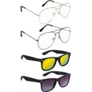 NuVew Aviator, Wayfarer Sunglasses(Blue, Golden, Clear, Golden, Violet)