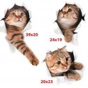 Sparköp Väggdekoration 3D-katter, 3 st.