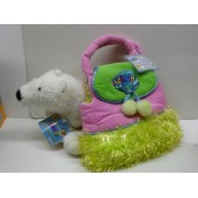 Webkinz Polar Bear with Pink & Green Fuzzy Purse Pet Carrier