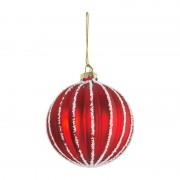 Xenos Kerstbal rood relief wit - glas
