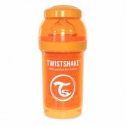 Biberon anticolici cu recipient lapte praf Twistshake 180 ml portocaliu