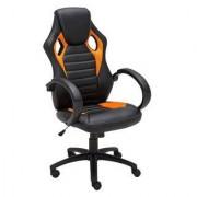Sediadaufficio Poltrona Gaming ASCARI, design sportivo unito a grande comodità, in pelle e tessuto, colore nero e arancione