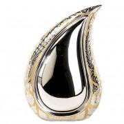 Teardrop Urn Shiny Silver - Golden Flowers (2.5 liter)