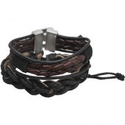 Sullery Rope Type Biker Black Brown Leather Bracelet For Men And Women (Pack of 2)