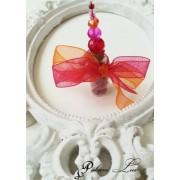Сувенир за гости на сватба и абитуриентски бал с кристали червено и оранжево Дуо над 20 бр