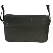 Skórzna torba na ramię z wyjmowaną kieszenią na laptopa - szara