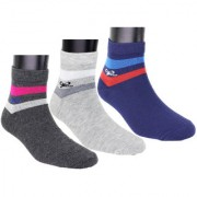 Neska Moda Men Cotton Grey Blue 3 Pair Ankle Length Socks