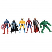 6pcs Marvel que los Vengadores Super héroe capitán de Hulk Batman figura de acción juguetes para niños
