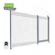 40ML de Clôture Piscine Conforme - Couleur - Vert 6005, Portillon : - Portillon sur platine, Pose - en scellement
