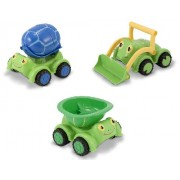 Doug & Melissa Tootle Turtle Set of 3 Outdoor Toys - Dump Truck, Bulldozer and Cement Mixer