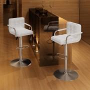 vidaXL Barové židle s područkami 2 ks, bílá