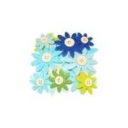 Merkloos 12 stuks gekleurde hobby bloemen grijs/groen/blauw van vilt met houten knoop