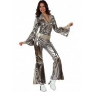 Vegaoo Silbernes Disco-Kostüm für Damen