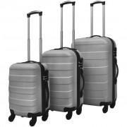 vidaXL комплект 3 броя твърди куфари на колелца, сребристи