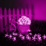 Napelemes LED cseresznyefavirág fényfüzér 2 m pink