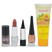 Nutriglow wild turmeric face wash with makeup combo set of 4 ( 1 eye linear 1 kajal 1 lipsticks 1 nail paints )