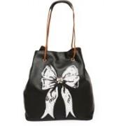 Pink Potato White Bow Tote Bag with Adjustable Straps for Women Shoulder Bag(Black, 20 inch)
