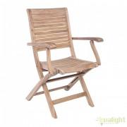 Set de 2 scaune pliante cu brate de exterior din lemn de tec MARYLAND 0804381 BZ