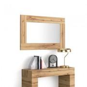 Mobili Fiver Espejo de pared rectangular, marco de color Madera Rustica, modelo Evolution