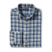 ランズエンド LANDS' END メンズ・リネン・シャツ/ロールアップ袖(オーシャンベイチェック)
