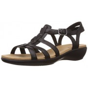 Clarks Women's Roza Jaida Black (Fit D) Leather Fashion Sandals - 5 UK