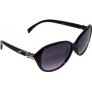 Veins Oval Sunglasses(Black)