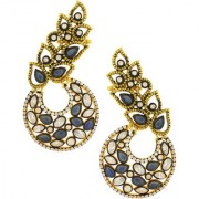 The Jewelbox Designer Flower Kundan Sapphire Blue Gold Plated Chaand Bali Ear Cuff Earring for Women