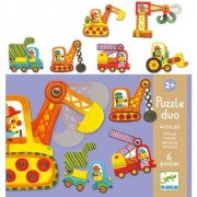 Djeco Articulated Vehicles Duo Puzzle (6 Puzzles/12 Pieces)