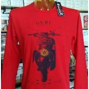 Guru T-shirt uomo Guru manica lunga girocollo con stampa vespa e logo
