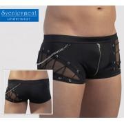Svenjoyment Sheer Insert & Chain & Lace Zip Boxer Brief Underwear Black 2130890