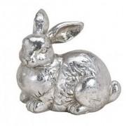 Geen Paashaas decoratie beeldje liggend zilver 12 cm