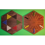 The Puzzle Man Toys W 1975 Wooden Marble Chinese Checkers Game Board 2 Games In 1 20 In. Hexagon Aggravation#44; Walnut