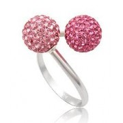 Stříbrný prsten kuličky Pink