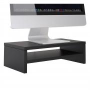 CARO-Möbel Bildschirmaufsatz SUBIDA in schwarz mit Ablagefach