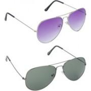 Hrinkar Aviator Sunglasses(Violet, Green)