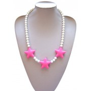 "Silli Me Jewels: Wish Upon a Star - 20"" Shorter-length Teething Necklace with 46-9mm Beads and 3 Stars for Baby to Chew or for Dress Up (Pink)"