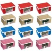 HomeStrap Home Storage Non-Woven Saree Cover Bag(Multicolor) SARCOVNWFMULTIWINREDTBLUPNKBEG12PC(Multicolor)