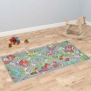 vidaXL Play Mat Loop Pile 190x290 cm City Road Pattern
