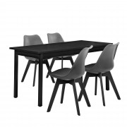 PremiumXL - [en.casa] Design blagovaonski set - stol (crni) sa 4 stolice (siva)