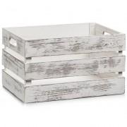 ZELLER Ukládací box VINTAGE, dřevěný, bílá barva, 35x25x20 cm, ZELLER