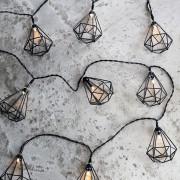 LED Lichtsnoer met 10 diamanten | Lichtketting verlichting feest sfeer lampjes | Licht diamond wit warm timer batterij