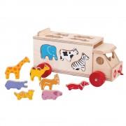 Bigjigs Toys Animal Shape Lorry - Wooden Shape Sorter Pull Along Toy