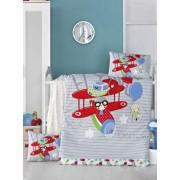 Set lenjerie de pat Victoria, pentru copii, 121VCT2022, Albastru