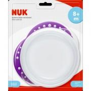 NUK Easy Learning Esslernschale mit Deckel, Kinderschale mit Anti-Rutsch-Griffen, BPA-frei, farbig sortiert