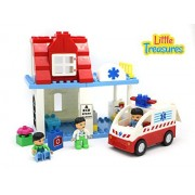 Little Treasures The DIY Build A Hospital 56 Piece Building Brick Box Set - Compatible Parts & Tight Fit