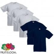 Fruit of the Loom 5 db eredeti gyerek póló szürke és tengerészkék 164-es méret