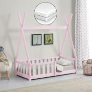 [en.casa]® Gyerekágy fenyőfa matraccal gyermek kiságy védőráccsal indiánsátor kialakítás rózsaszín