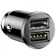 Incarcator auto, Baseus Grain Car Charger, 2x USB 3.1A, negru