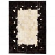 vidaXL fekete/fehér, foltvarrott, valódi bőr szőnyeg 160 x 230 cm